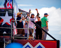 Elliot Sloan celebrates  his heelflip Indy 720 which won the Skateboard Vert Best Trick gold medal at the 2015 Summer X-Games